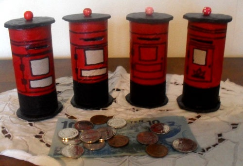Postbox money box think crafts by createforless for Making crafts for money