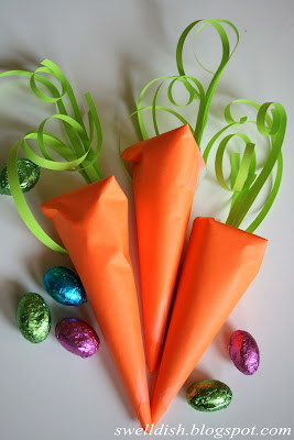 Easter Egg Filled Paper Carrots - Swell Dish