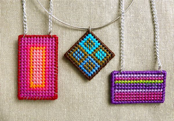 Needlepoint Pendant by Guest Blogger Diane from CraftyPod