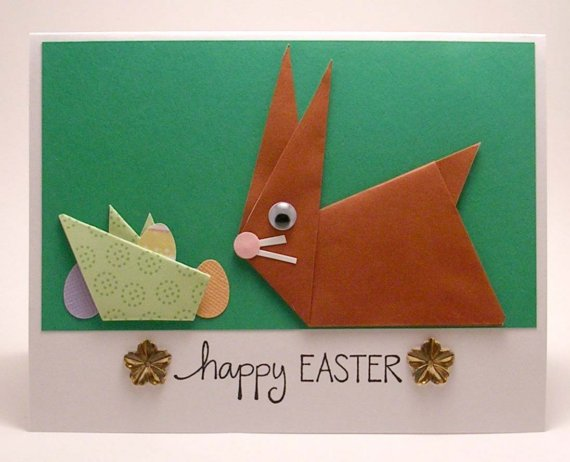 Orgami Easter Bunny Card - Purchase on Etsy!