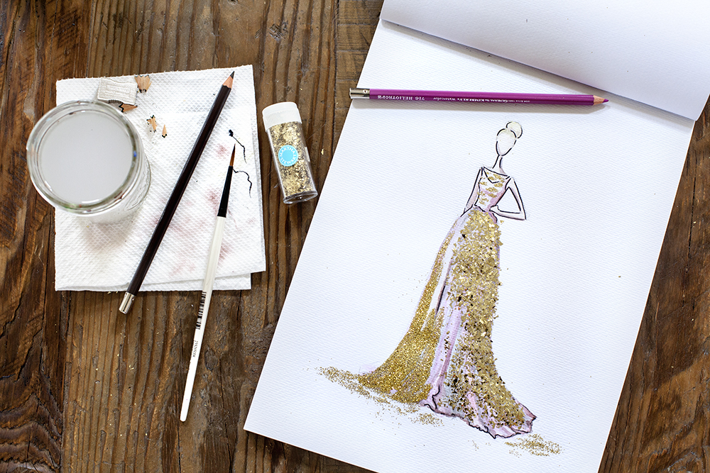 Watercolor Glitter Gown by Guest Blogger Tiffany at