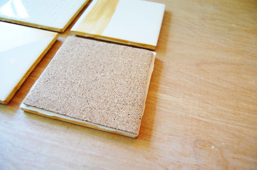Back a tile with cork for a ceramic coaster