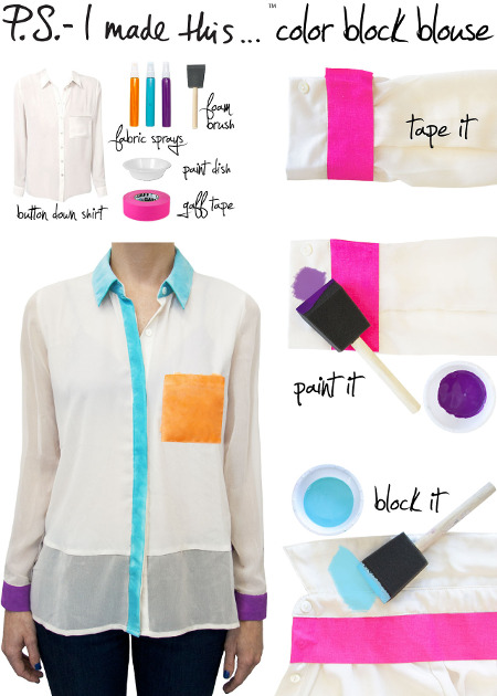 to sew a color block blouse you can paint it with some fabric paint. Black Bedroom Furniture Sets. Home Design Ideas