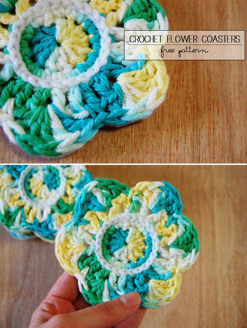 Crochet Pattern and Craft Tutorial for Flower Coasters at ThinkCrafts.com
