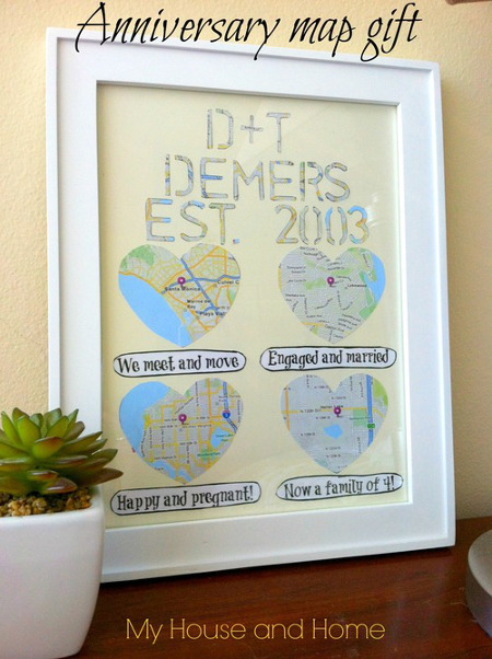 Anniversary map gift think crafts by createforless for Diy map heart frame