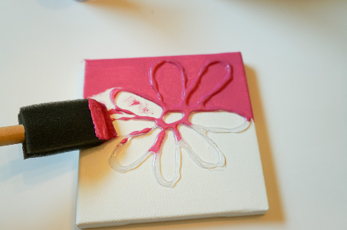 Hot glue painting think crafts by createforless for Things to do with mini canvases