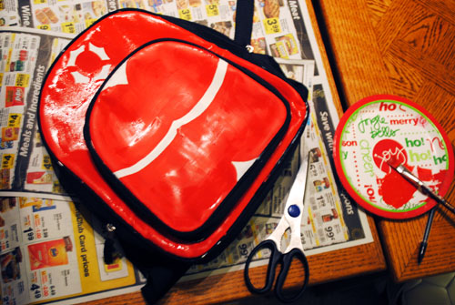 7-painting the backpack red and gold