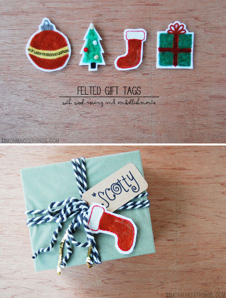 Needle Felted Gift Tags