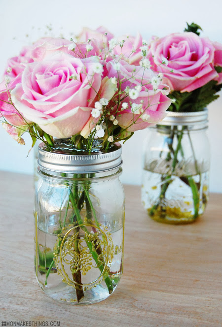 Guilded mason vases think crafts by createforless for How to arrange flowers in mason jar