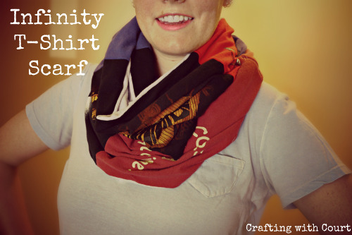 Upcycle old t-shirts into a colorful infinity scarf