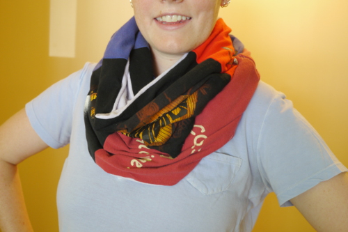 Don't have enough T's to make a quilt? Make a cozy infinity scarf instead!
