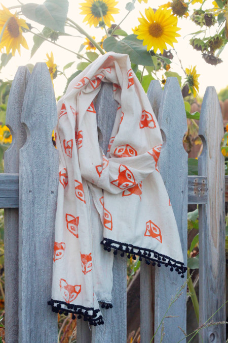 Create a stamp and decorate a scarf!