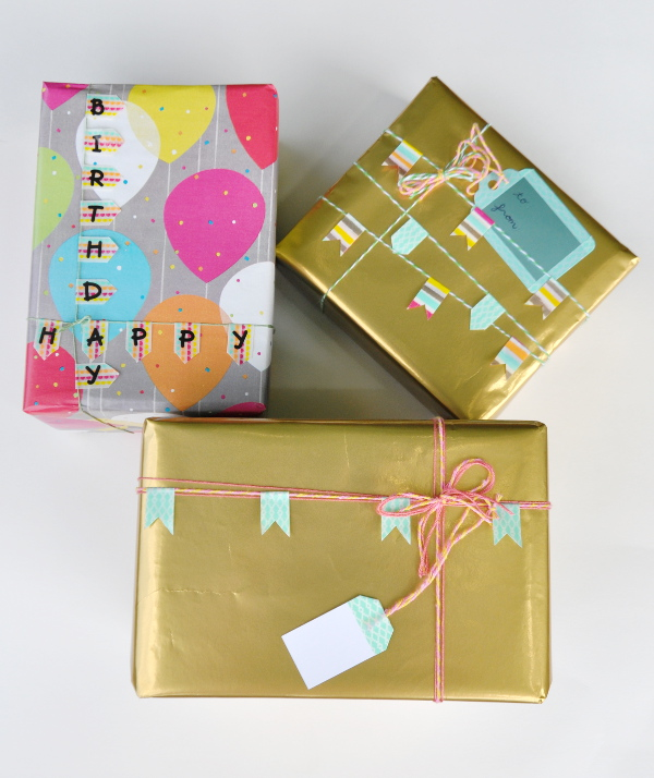 Wrap adorable gifts with washi tape! Check out our DIY tutorials and inspiration at Think Crafts