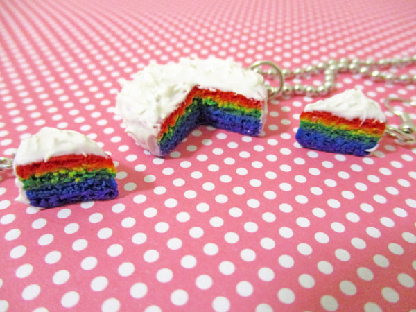 Cute rainbow cake jewelry that looks good enough to eat!