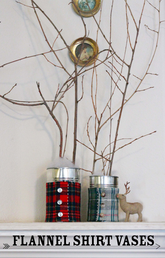 Give your home a cozy winter feel with these cute flannel shirt vases.