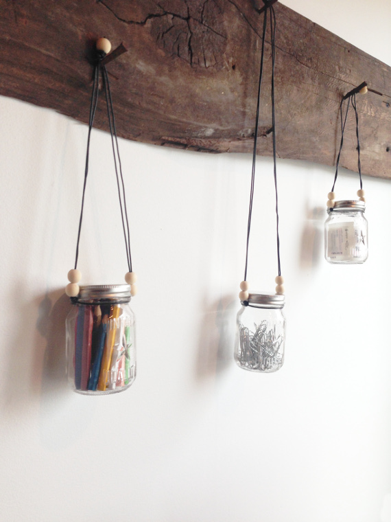 Pretty and minimal storage jars to hang over your desk
