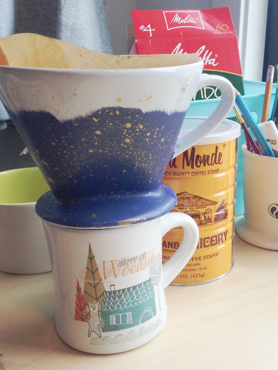 Add a little more beauty and caffeine to your desk with a painted ceramic pour over coffee maker!