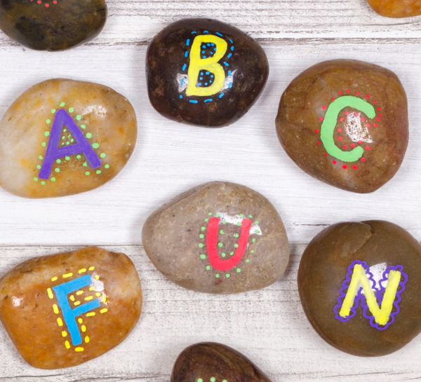 Teach kids the alphabet or spelling with fun and colorful stones!