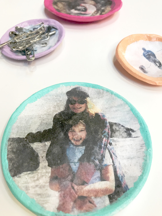 Transfer photos onto clay dishes to store jewelry and trinkets!
