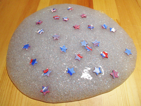 Create your own red, white and blue slime to play with on Independence Day!