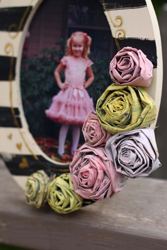 Upcycle old newspapers into cute paper roses you can use as embellishments