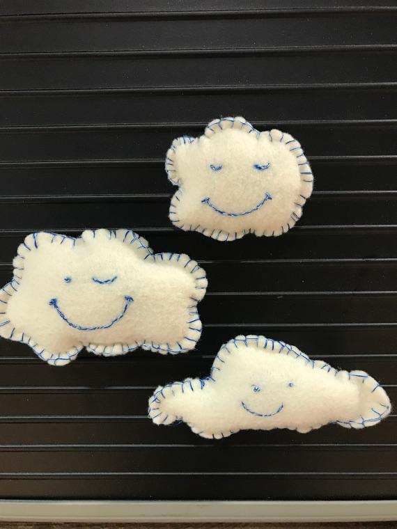 Make your own felt cloud friends to turn in to magnets, brooches, or even softies!